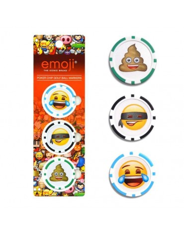 Emoji Pack of 3 poker chip ball markers